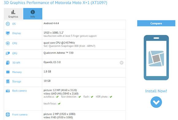 مشخصات فنی تایید شده گوشی Moto X+1