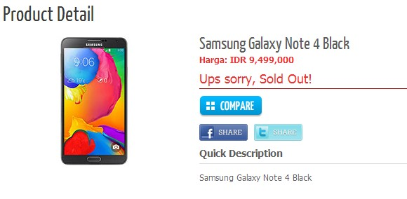 قیمت Galaxy Note 4
