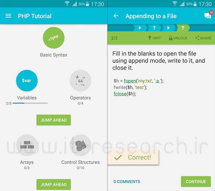 Learn PHP Android Application